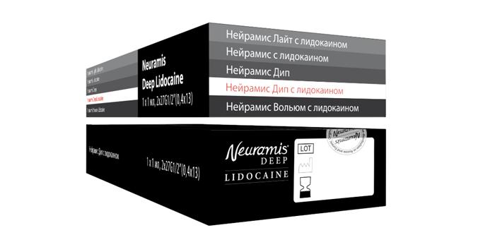 На боковых сторонах сертифицированных гелей-имплантатов НЕЙРАМИС NEURAMIS ® также нанесены названия препаратов на русском языке.